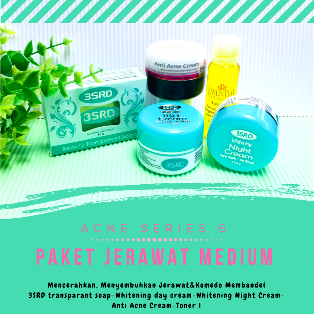 paket cream anti jerawat 3SRD terdiri dari sabun transparan, krim pagi, krim malam, cream anti acne dan  toner