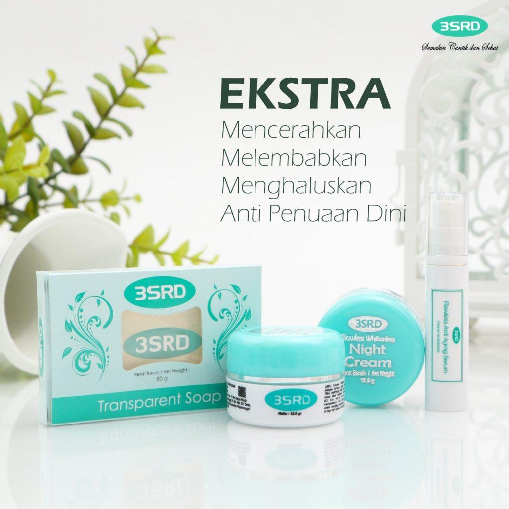 paket cream 3SRD terdiri dari sabun transparan, krim pagi, krim malam dan serum anti aging